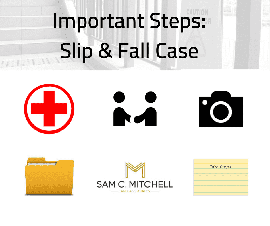 important steps: slip & fall case infographic