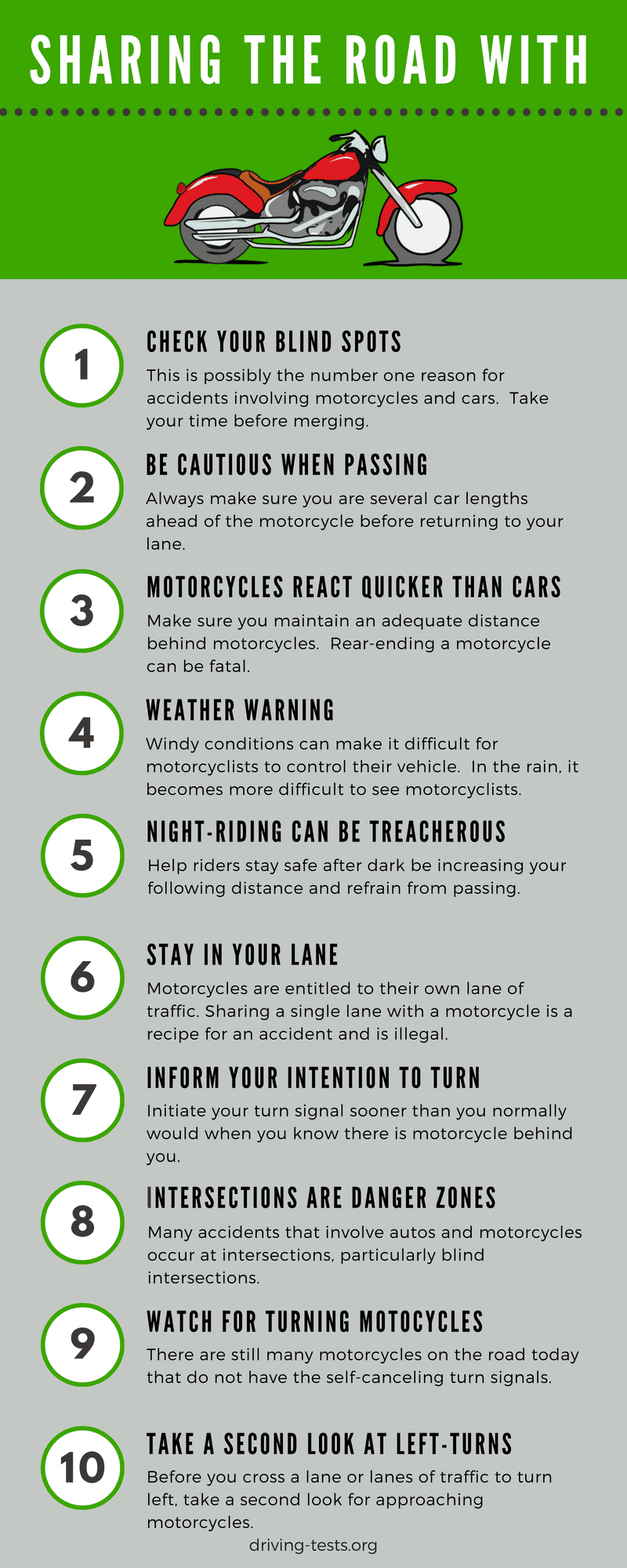 Sharing the road with motorcycle infographic