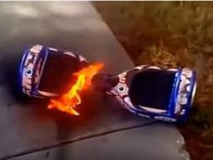 Hoverboard on fire from exploding